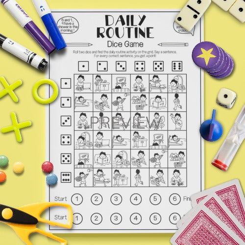 ESL English Kids Daily Routine Dice Game Worksheet