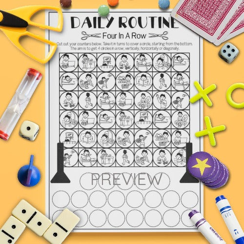 ESL English Kids Daily Routine Four In A Row Game Worksheet