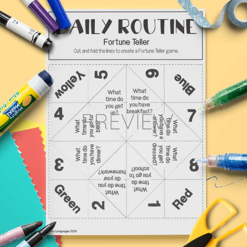ESL English Daily Routine Fortune Teller Craft Activity Worksheet