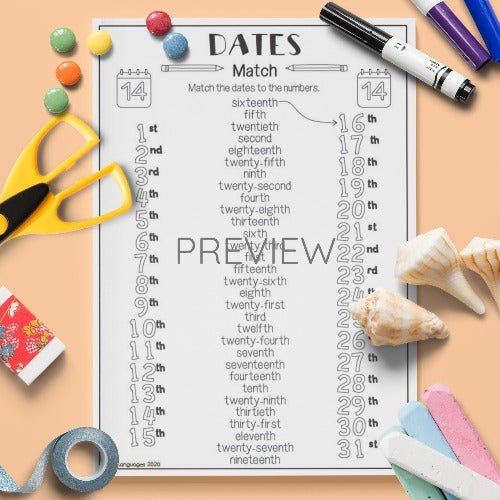 ESL English Kids Dates Match Activity Worksheet