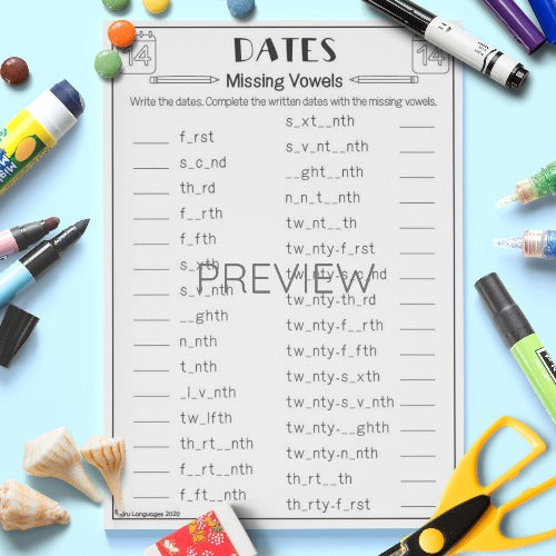 ESL English Kids Dates Missing Vowels Activity Worksheet