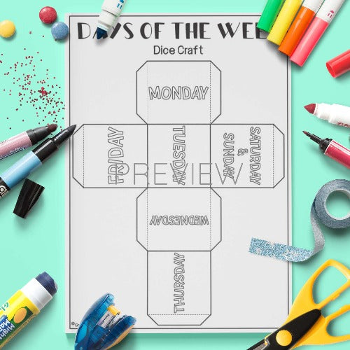 ESL English Days of the Week Dice Craft Activity Worksheet