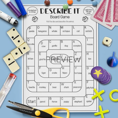 ESL English Kids Describe It Board Game Worksheet