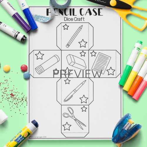 ESL English Kids School Dice Craft Worksheet