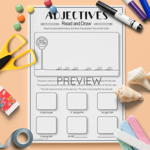 ESL English Kids Adjectives Read and Draw Activity Worksheet