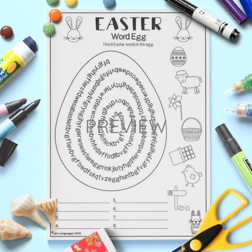 ESL English Easter Word Egg Activity Worksheet