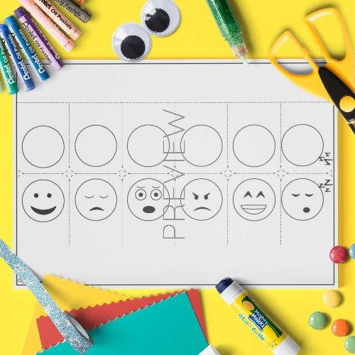 ESL English Emoji Finger Puppets Craft Activity Worksheet