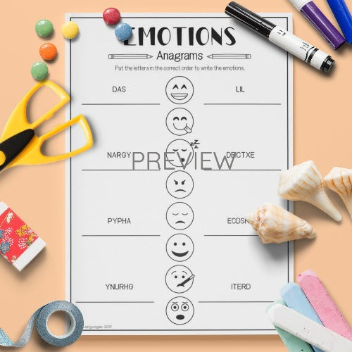 ESL English Kids Emotions Anagrams Activity Worksheet