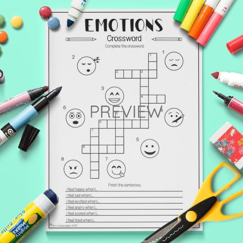ESL English Kids Emotions Crossword Activity Worksheet