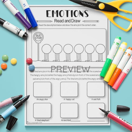 ESL English Kids Emotions Read and Draw Activity Worksheet