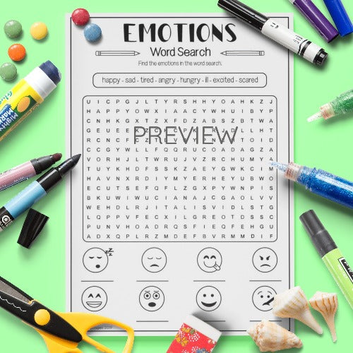 ESL English Kids Emotions Word Search Activity Worksheet