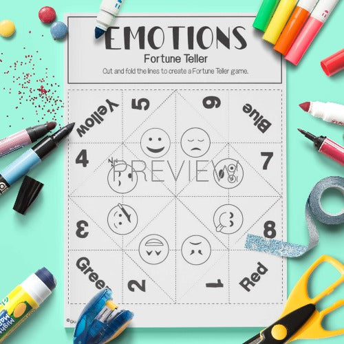ESL English Emotions Fortune Teller Craft Activity Worksheet