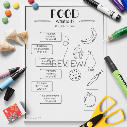 ESL English Kids Food Quiz Worksheet