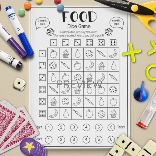 ESL English Kids Food Dice Game Worksheet