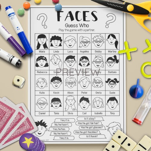 ESL English Kids Face Guess Who Game Worksheet