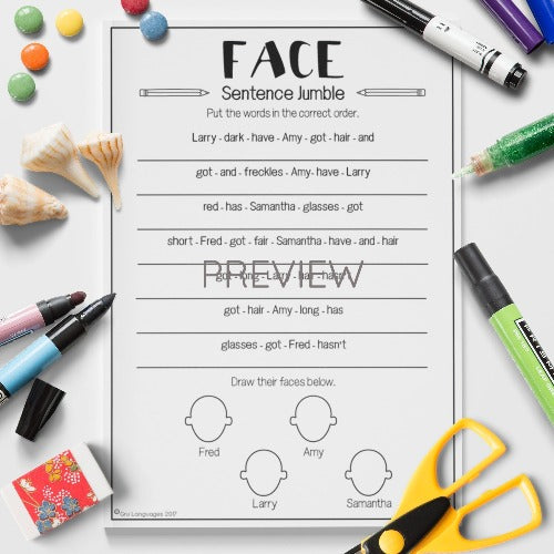 ESL English Kids Face Sentence Jumble Worksheet