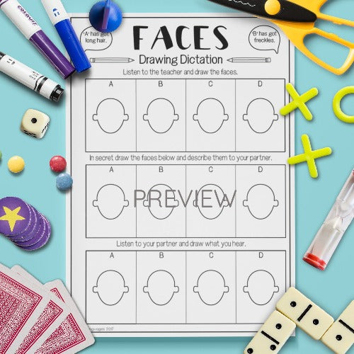 ESL English Kids Face Drawing Dictation Game Worksheet