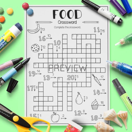 ESL English Kids Food Crossword Worksheet