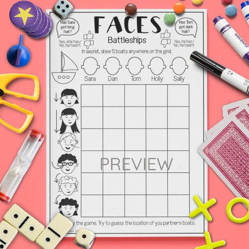 ESL English Kids Face Battleships Game Worksheet