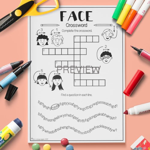 ESL English Kids Face Crossword Worksheet