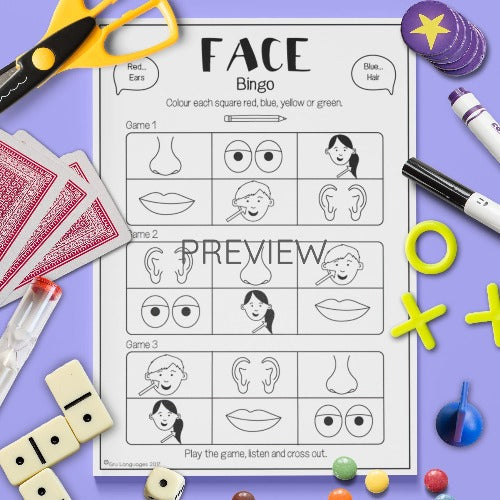 ESL English Kids Face Bingo Game Worksheet