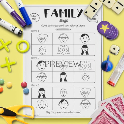 ESL English Kids Family Bingo Game Worksheet