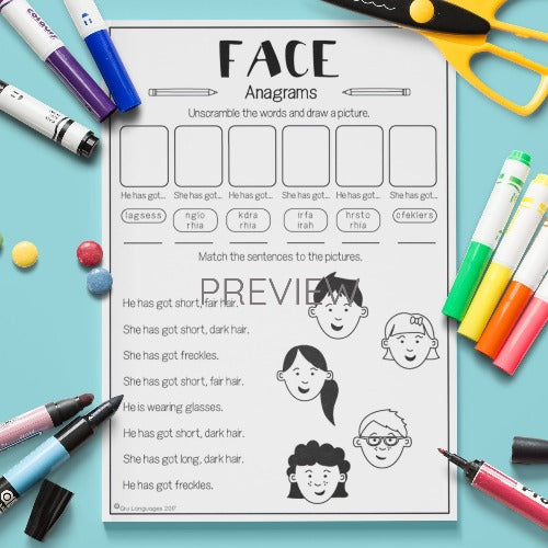 ESL English Kids Face Anagrams Worksheet