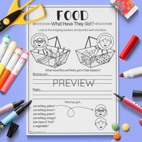ESL English Kids Food What Have They Got? Worksheet