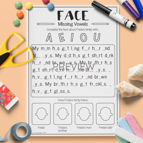 ESL English Kids Face Missing Vowels Worksheet