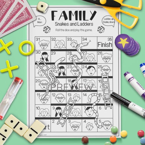 ESL English Kids Family Snakes and Ladders Game Worksheet