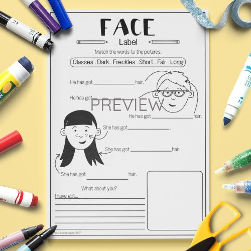 ESL English Kids Face Vocabulary Worksheet