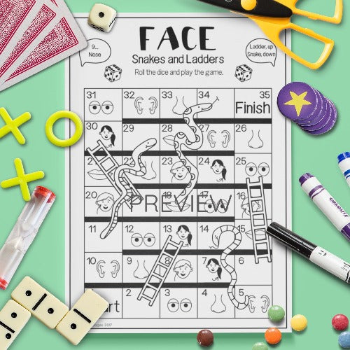 ESL English Kids Face Snakes and Ladders Game Worksheet