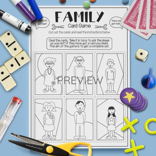 ESL English Kids Family Card Game Worksheet