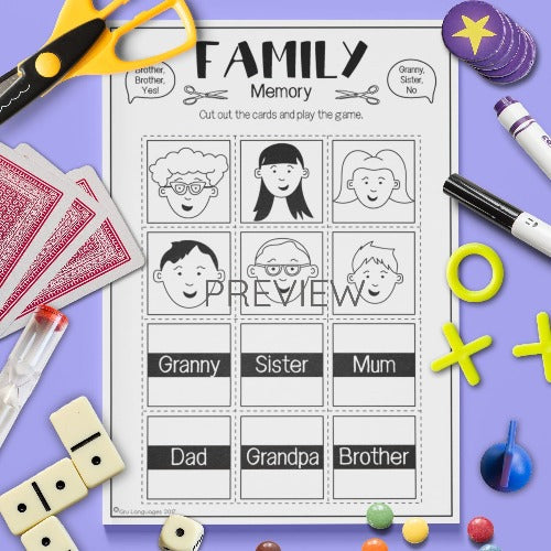 ESL English Kids Family Memory Game Worksheet