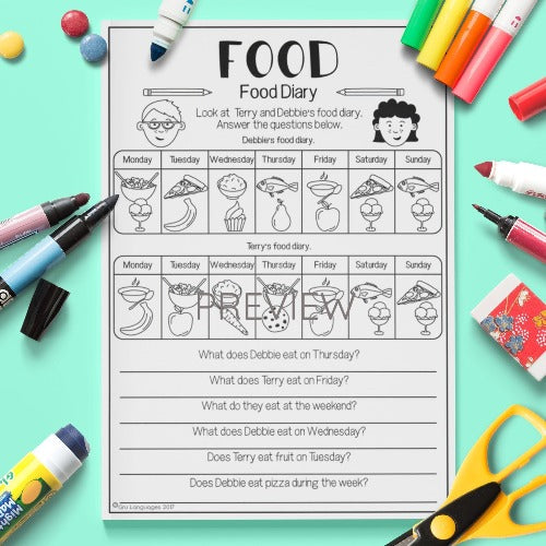 ESL English Kids Food Diary Worksheet