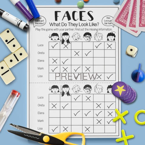 ESL English Kids Face What Do They Look Like Game Worksheet