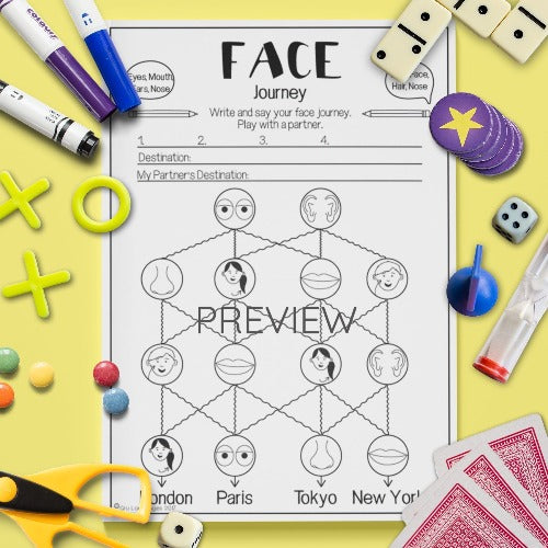ESL English Kids Face Journey Game Worksheet