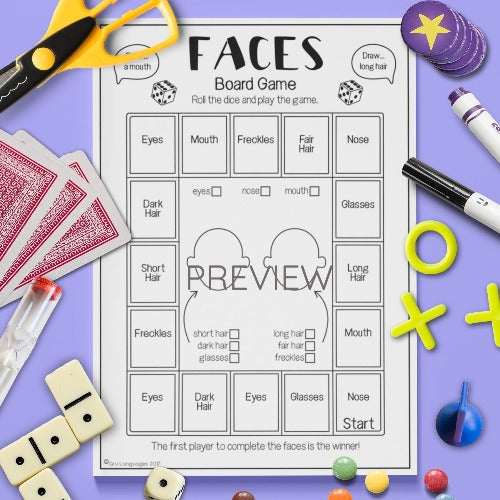 ESL English Kids Face Drawing Game Worksheet