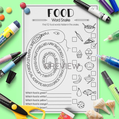 ESL English Kids Food Word Snake Worksheet