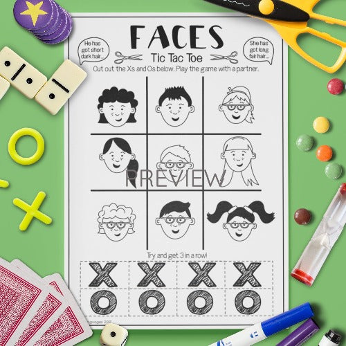 ESL English Kids Face Tic Tac Toe Game Worksheet