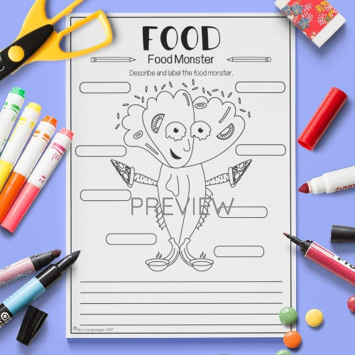 ESL English Kids Food Monster Worksheet