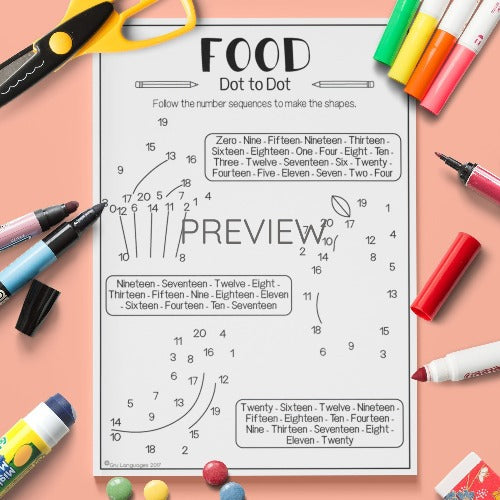 ESL English Kids Food Dot To Dot Worksheet