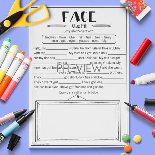ESL English Kids Face Gap Fill Worksheet