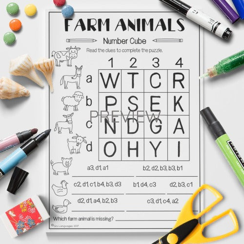 ESL English Kids Farm Animal Number Cube Worksheet