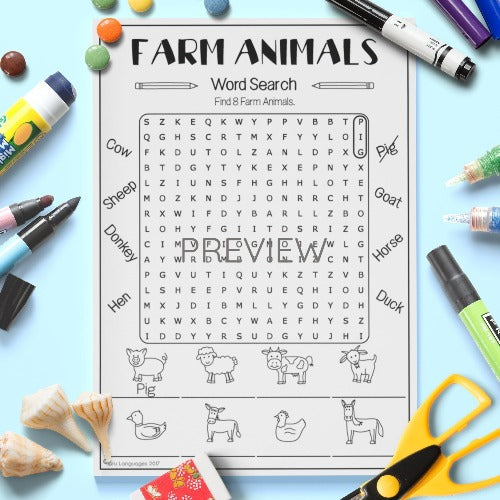 ESL English Kids Farm Animal Word Search Worksheet