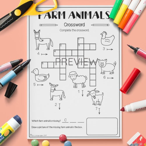 ESL English Kids Farm Animal Crossword Worksheet