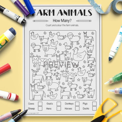 ESL English Kids Farm Animal How Many Worksheet
