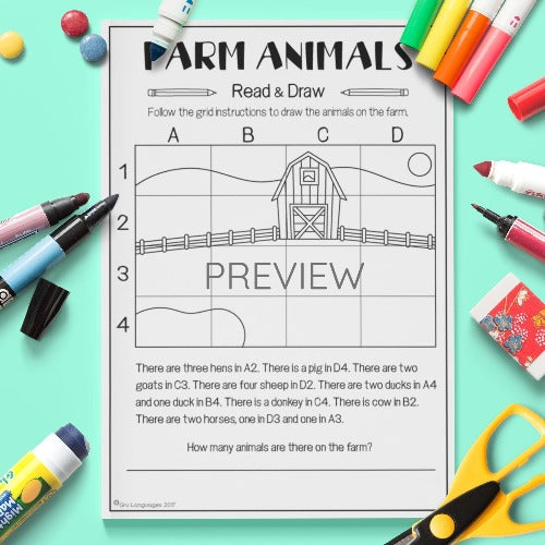 ESL English Kids Farm Animal Read and Draw Worksheet