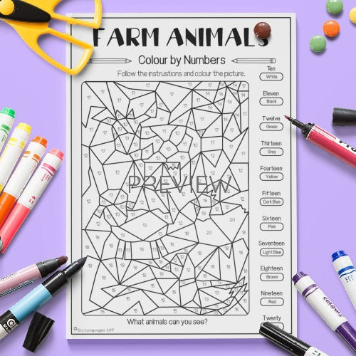ESL English Kids Farm Animal Colour By Numbers Worksheet