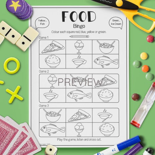 ESL English Kids Food Bingo Game Worksheet